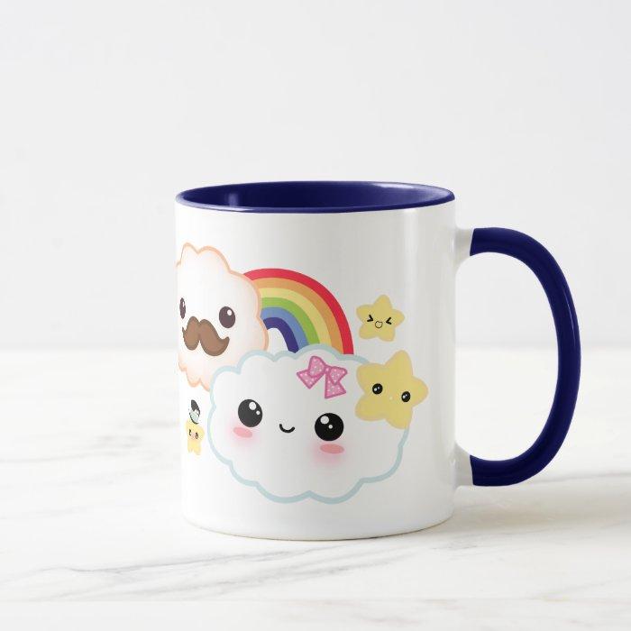 Kawaii cloud couple with rainbow and stars mug