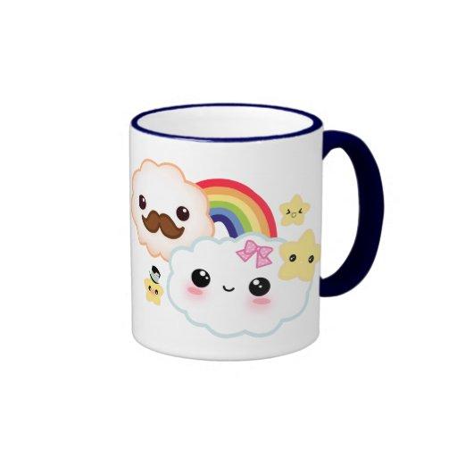 Kawaii cloud couple with rainbow and stars coffee mug