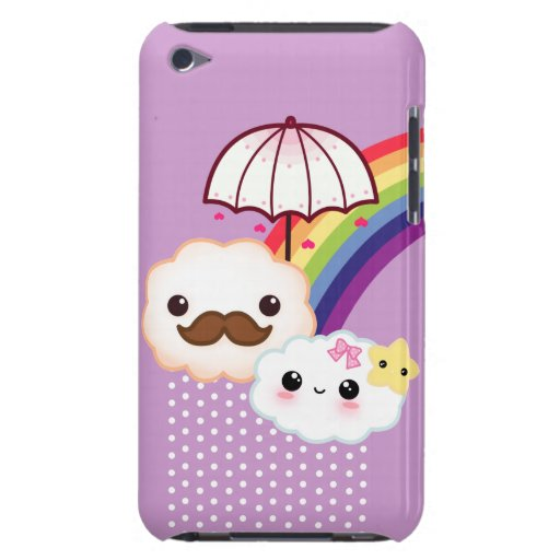 Kawaii cloud couple with rainbow and umbrella barely there iPod case