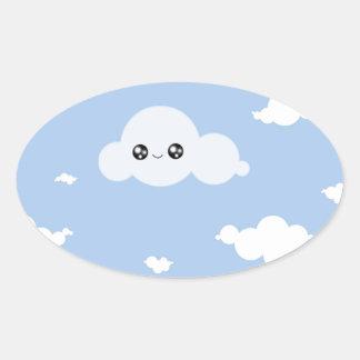 Kawaii Cloud Oval Sticker