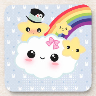 Kawaii cloud, stars and rainbow beverage coaster