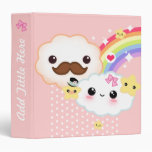 Kawaii clouds with rainbow and stars on pink binder