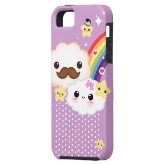 Kawaii clouds with rainbow and stars on purple iPhone 5 cover