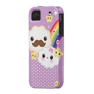 Kawaii clouds with rainbow and stars on purple iPhone 4 covers