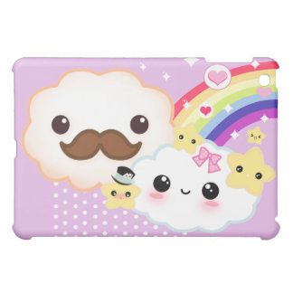 Kawaii clouds with rainbow and stars on purple iPad mini cover