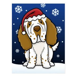 Kawaii Clumber Spaniel Christmas Postcard