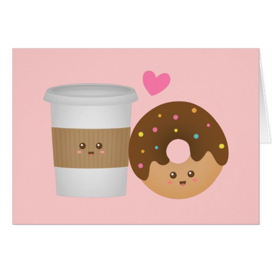 Kawaii Coffee And Donut In Love Perfect Pair Card Zazzle