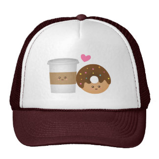 Kawaii Coffee and Donut in love, Perfect Pair Trucker Hat