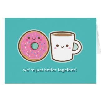 Kawaii Coffee & Doughnut Greeting Card