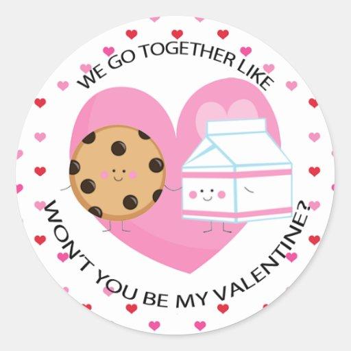 Kawaii Cookie and Milk Valentine Round Sticker