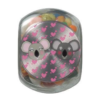 Kawaii cookie jar with lots of love glass candy jar