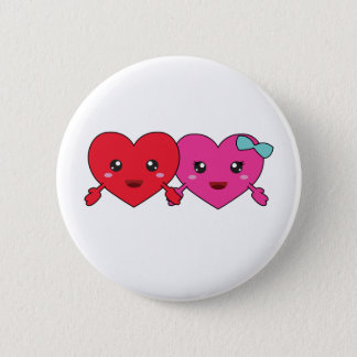 kawaii couple love pinback button
