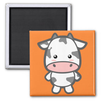 Kawaii Cow 2 Inch Square Magnet