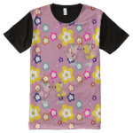 Kawaii Critters Foxes Flowers pastel pink All-Over Print Shirt