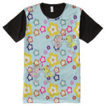 Kawaii Critters Foxes Flowers pastel tee All-Over Print T-shirt