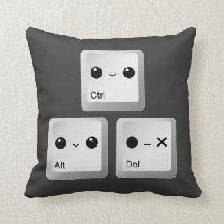 Kawaii Ctrl Alt Del Keyboard - Reboot Throw Pillow