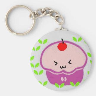 Kawaii cupcake basic round button keychain