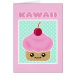 Kawaii Cupcake Cherry Candy Card