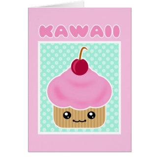 Kawaii Cupcake Cherry Candy Card