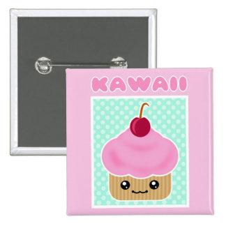 Kawaii Cupcake Cherry Pinback Button