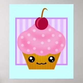 Kawaii Cupcake Cherry Poster print