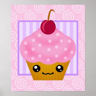 Kawaii Cupcake Cherry Poster