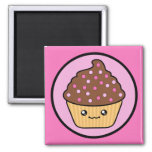 Kawaii Cupcake Chocolate Frosting 2 Inch Square Magnet