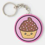 Kawaii Cupcake Chocolate Frosting Basic Round Button Keychain