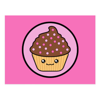 Kawaii Cupcake Chocolate Frosting Postcard