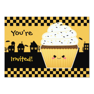 Kawaii Cupcake Halloween party Card