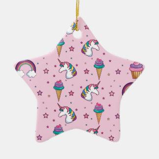 Kawaii Cupcake Icecream Unicorn Fairytale Ceramic Ornament