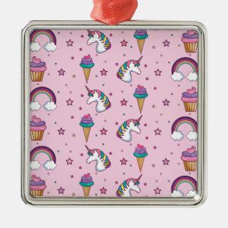 Kawaii Cupcake Icecream Unicorn Fairytale Metal Ornament