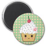 Kawaii Cupcake in Polka Dots 2 Inch Round Magnet