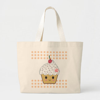 Kawaii Cupcake in Polka Dots Tote Bag