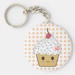 Kawaii Cupcake in Polka Dots Basic Round Button Keychain