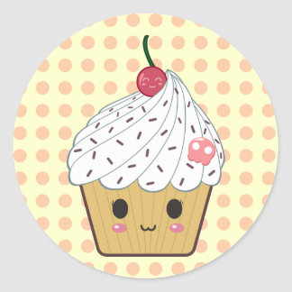 Kawaii Cupcake in Polka Dots Classic Round Sticker