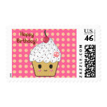 "Kawaii Cupcake in Polka Dots ""Happy Birthday"" Postage Stamps"