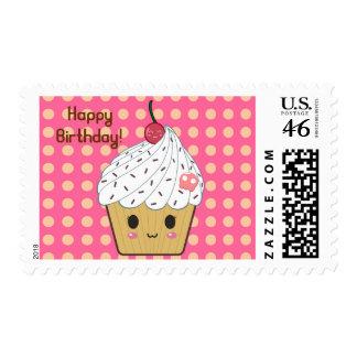 Kawaii Cupcake in Polka Dots Happy Birthday Postage Stamps