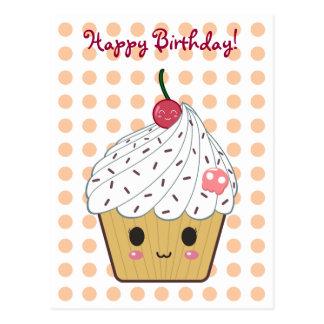 """Kawaii Cupcake in Polka Dots """"Happy Birthday"""" Postcard"""