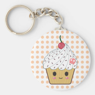 Kawaii Cupcake in Polka Dots Keychain