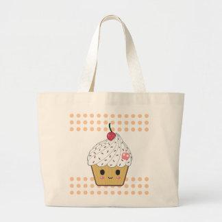 Kawaii Cupcake in Polka Dots Large Tote Bag