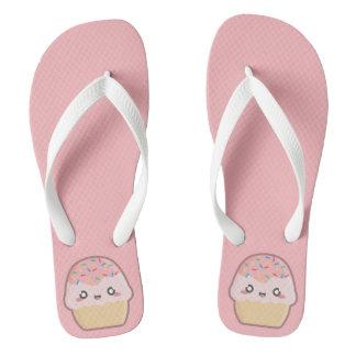 Kawaii cupcake flip flops