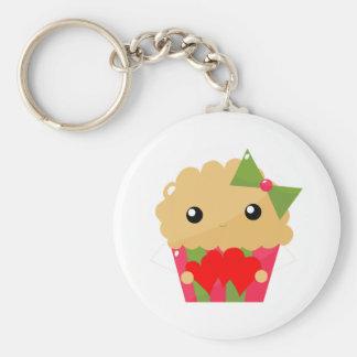 Kawaii Cupcake Muffin Holding Hearts Basic Round Button Keychain