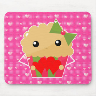 Kawaii Cupcake Muffin Holding Hearts Mouse Pad