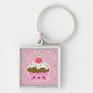 Kawaii Cupcake on Colorful Polka Dots Keychain