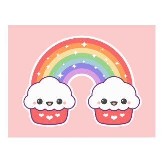 Kawaii Cupcake Rainbow Postcard