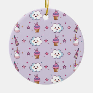 Kawaii Cupcake Unicorn Fairytale Ceramic Ornament