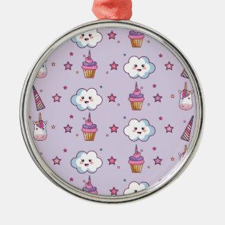 Kawaii Cupcake Unicorn Fairytale Metal Ornament