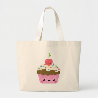 Kawaii Cupcake with Cherry on Top Large Tote Bag