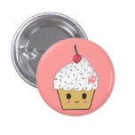 Kawaii Cupcake with Pink Sugar Skull and Cherry 1 Inch Round Button